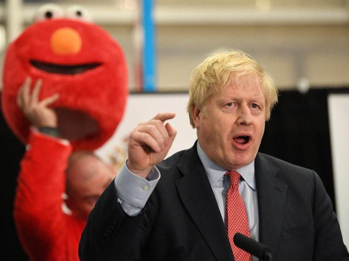 Prime Minister Boris Johnson giving his victory speech