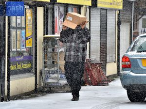 Sheltering from the snow in Cannock Road, Wolverhampton