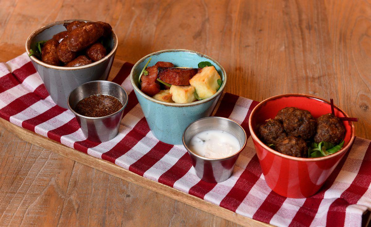 Mini Cumberland Sausages, Fried Halloumi & Chorizo cubes and Lamb Kofta Bites