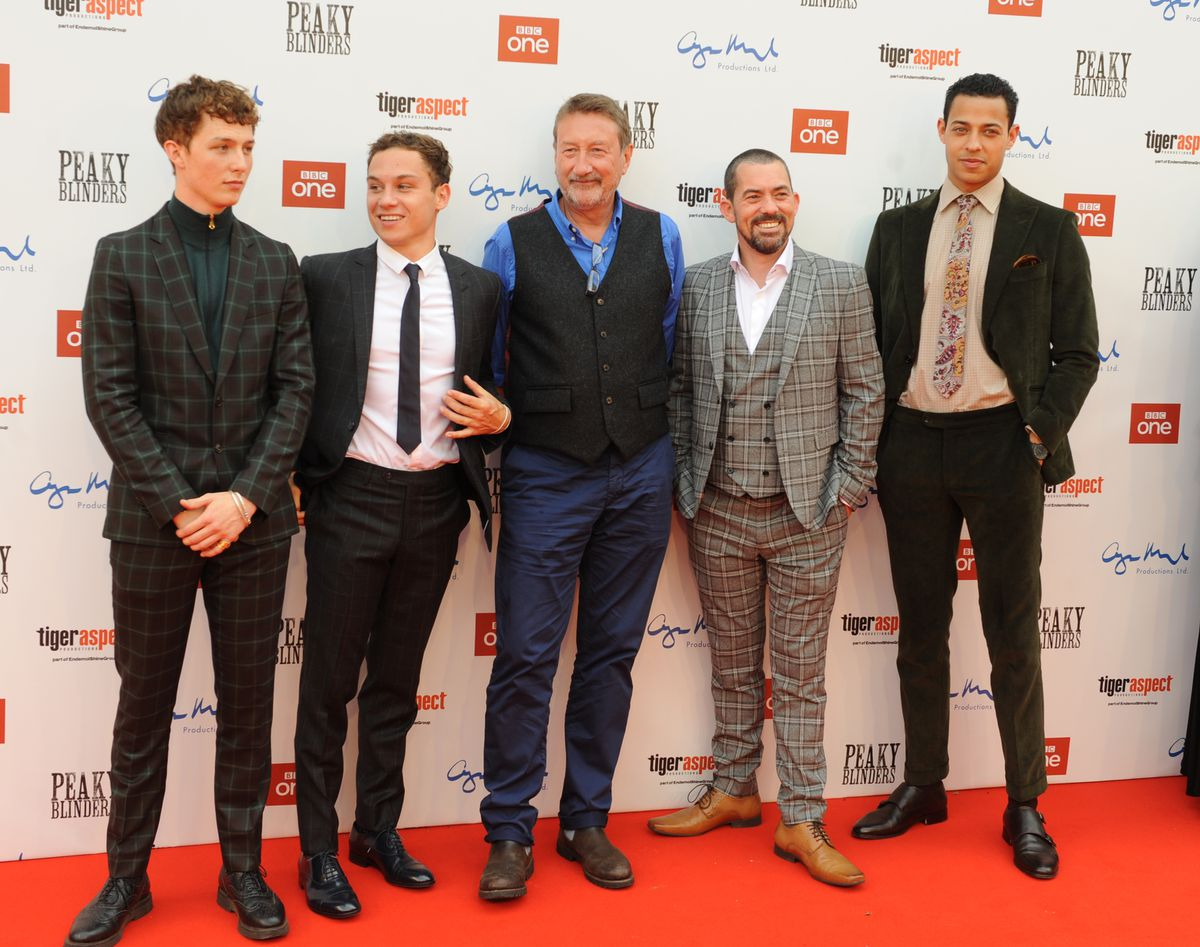 Peaky Blinders premiere, Birmingham Town Hall, (left-right) Harry Kirton, Finn Cole, Steven Knight, Packy Lee, and Daryl McCormack