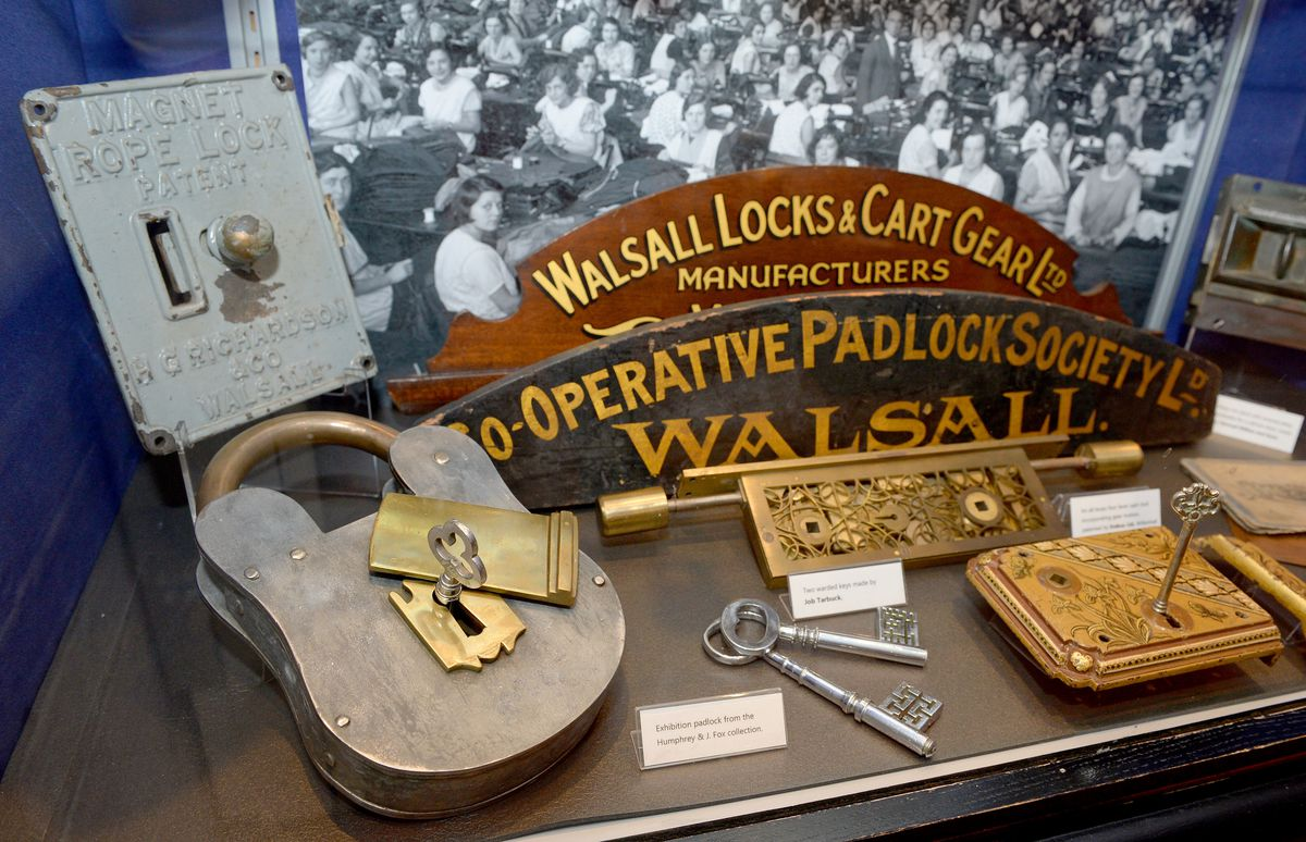 Various locks on display made in the Walsall area