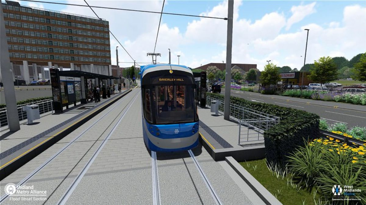 The proposed West Midlands Metro stop in Flood Street, Dudley. Picture: Midland Metro Alliance