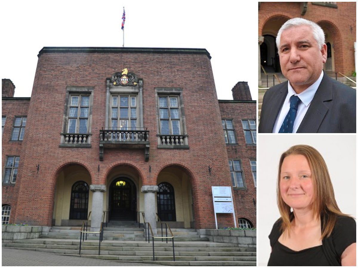 Main, The Tories have taken a majority control of Dudley Council, and right, council leader, Conservative Patrick Harley and bottom, Kerry Lewis who has joined the party from UKIP