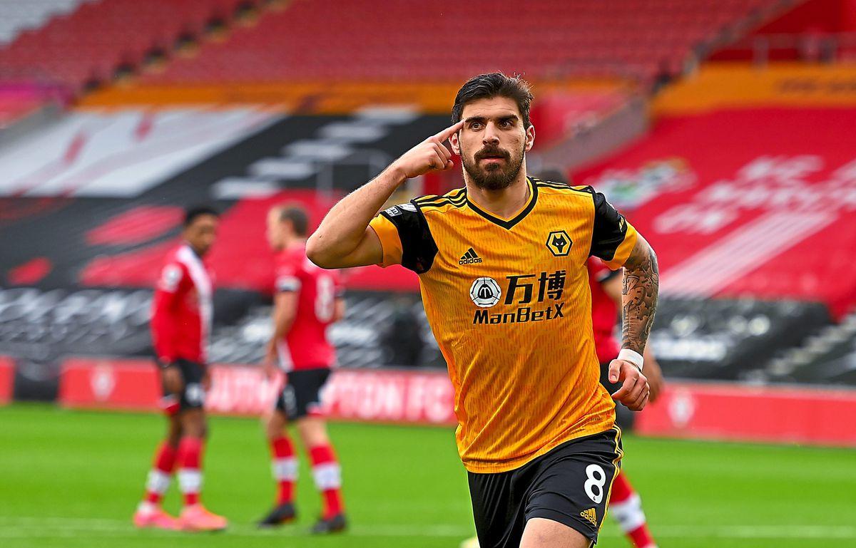 Ruben Neves of Wolverhampton Wanderers celebrates after scoring a goal to make it 1-1