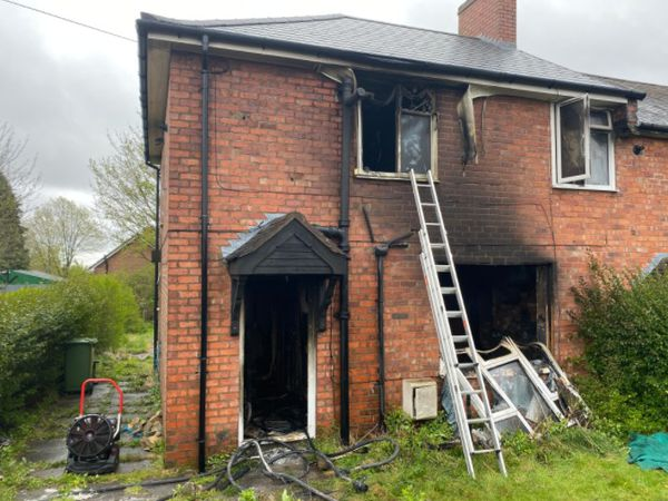 The house in Beacon Lane, Sedgley. Photo: @WestMidsFire