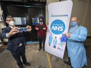 (L-R): Airguard Filters owner Maqq Rafique and Pam Covers owner Gurmukh Singh with Deputy Mayor of Wolverhampton Cllr Greg Brackenridge outside Pam Covers