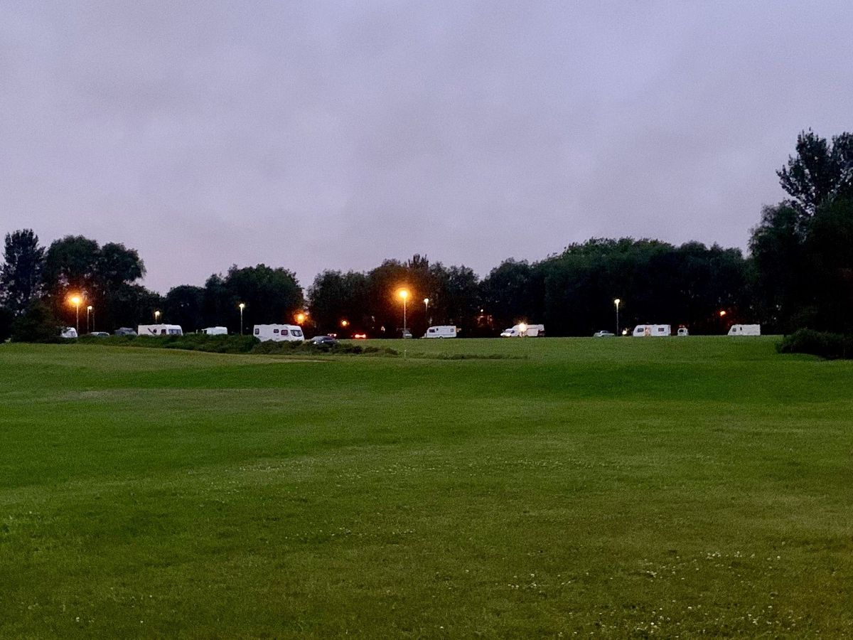 A group of travellers have set up an illegal camp on Coppice Farm Park. Photo: Councillor Adam Hicken