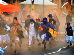 Colourful martial arts display brought by Sikh Holla Mohalla festival