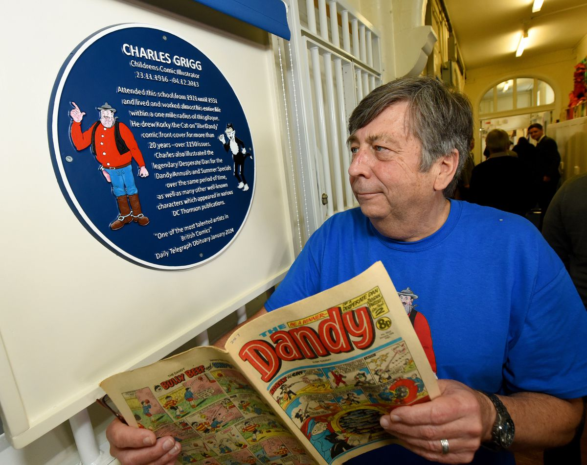 Event to unveil the blue plaque and celebrate the work of Dandy comic artist Charlie Grigg, at Rood End School, Oldbury, which was his school when he was a young boy. Charlie's son Steve next to the blue plaque.