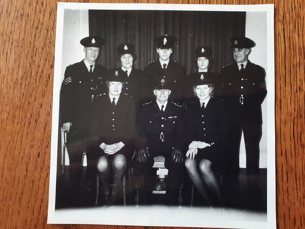Chief Officer Rogers poses at the beginning of his time in the Special Constabulary. He is pictured middle of the back row, with his wife June front row, first from the right