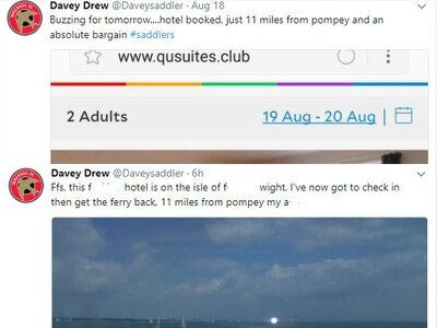 Walsall fan books hotel for away game at Portsmouth... a FERRY ride away on the Isle of Wight