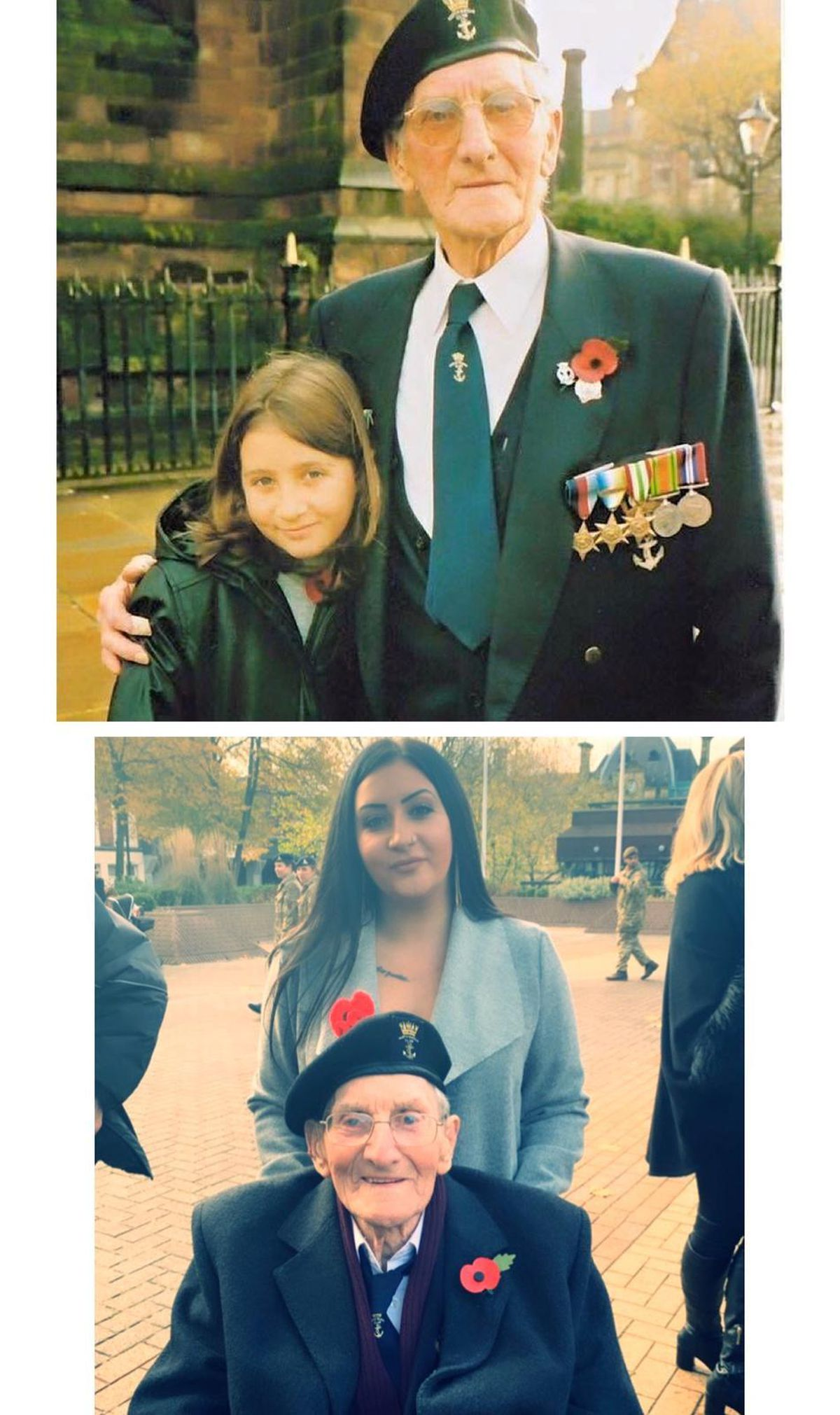 Zoe with Harry, at the Wolverhampton Civic Square Remembrance Day service, 20 years apart. In the top image she is seven, and bottom, 27