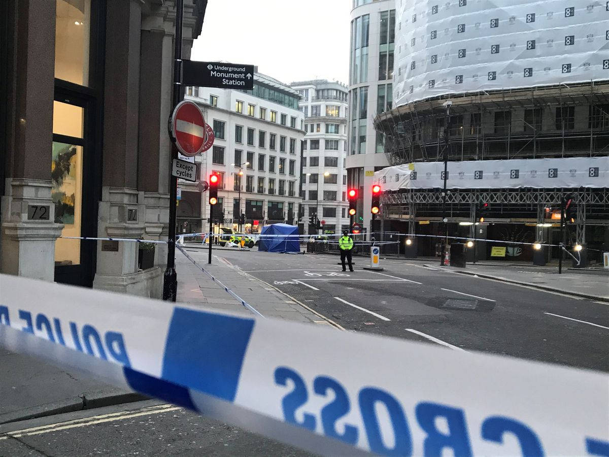 The area around London Bridge in central London cordoned off this morning