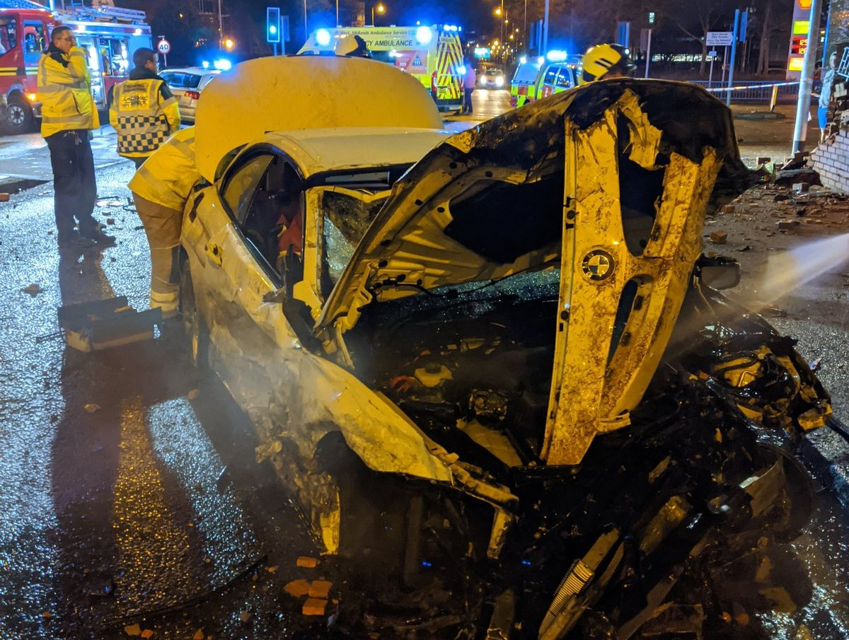 A BMW was written off in the crash. Photo: Wolverhampton Fire