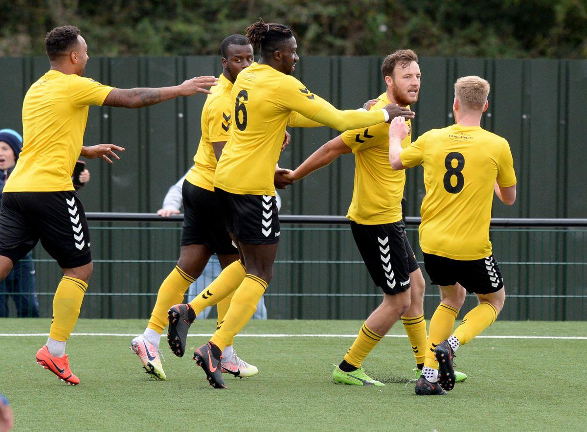Sam Whittall celebrates his goal