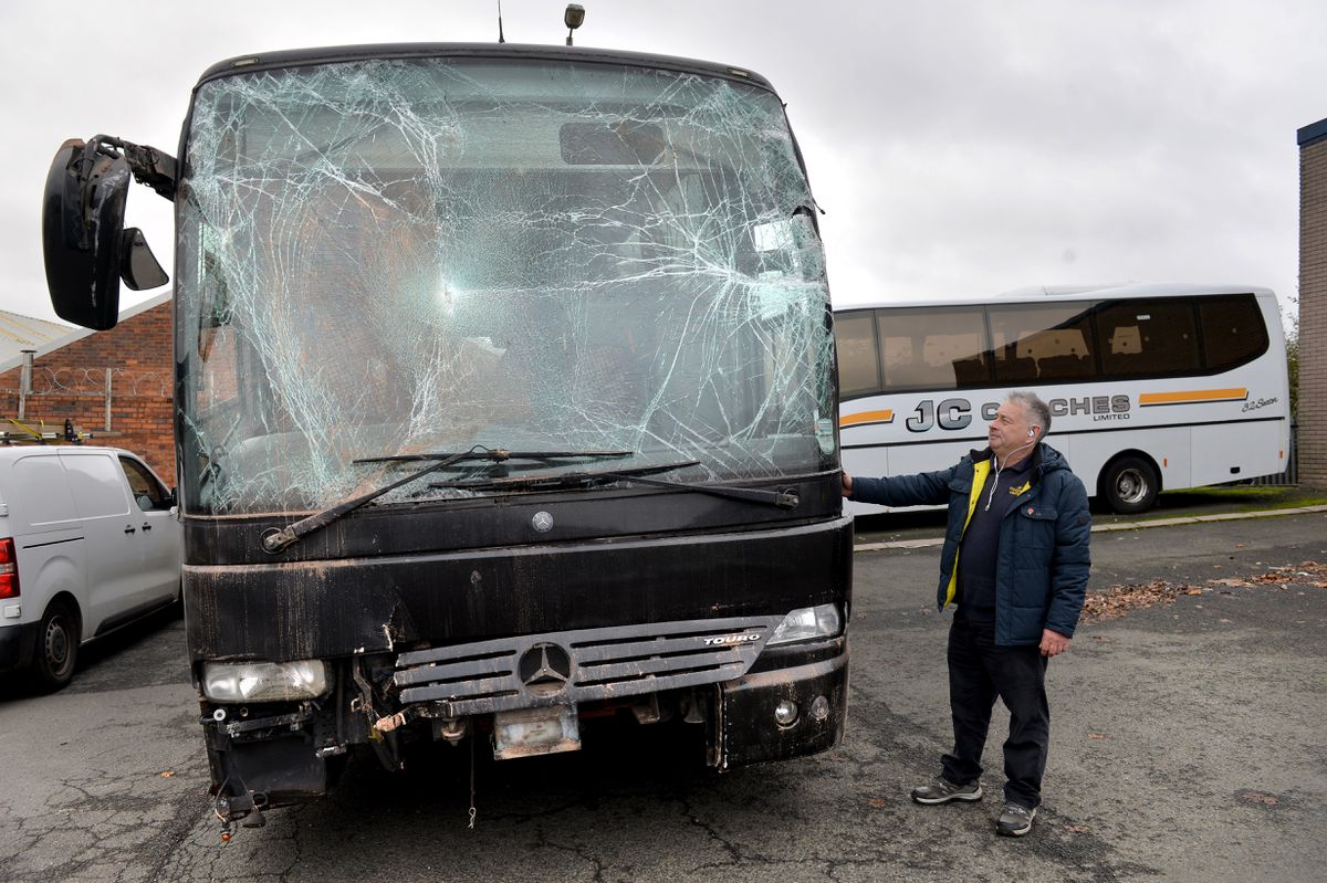 John Molnar from JC Coaches pictured with the damaged coach