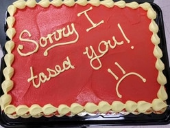 Cop gives firefighter 'sorry I Tased you' cake to apologise for stun gun gaffe