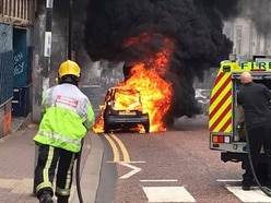 Car destroyed in fire in Dudley's High Street