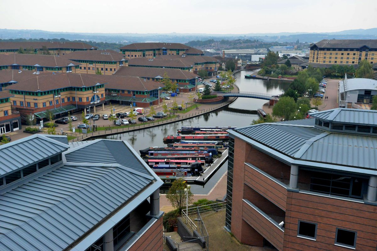 The Waterfront business park now stands on the site of the former steelworks