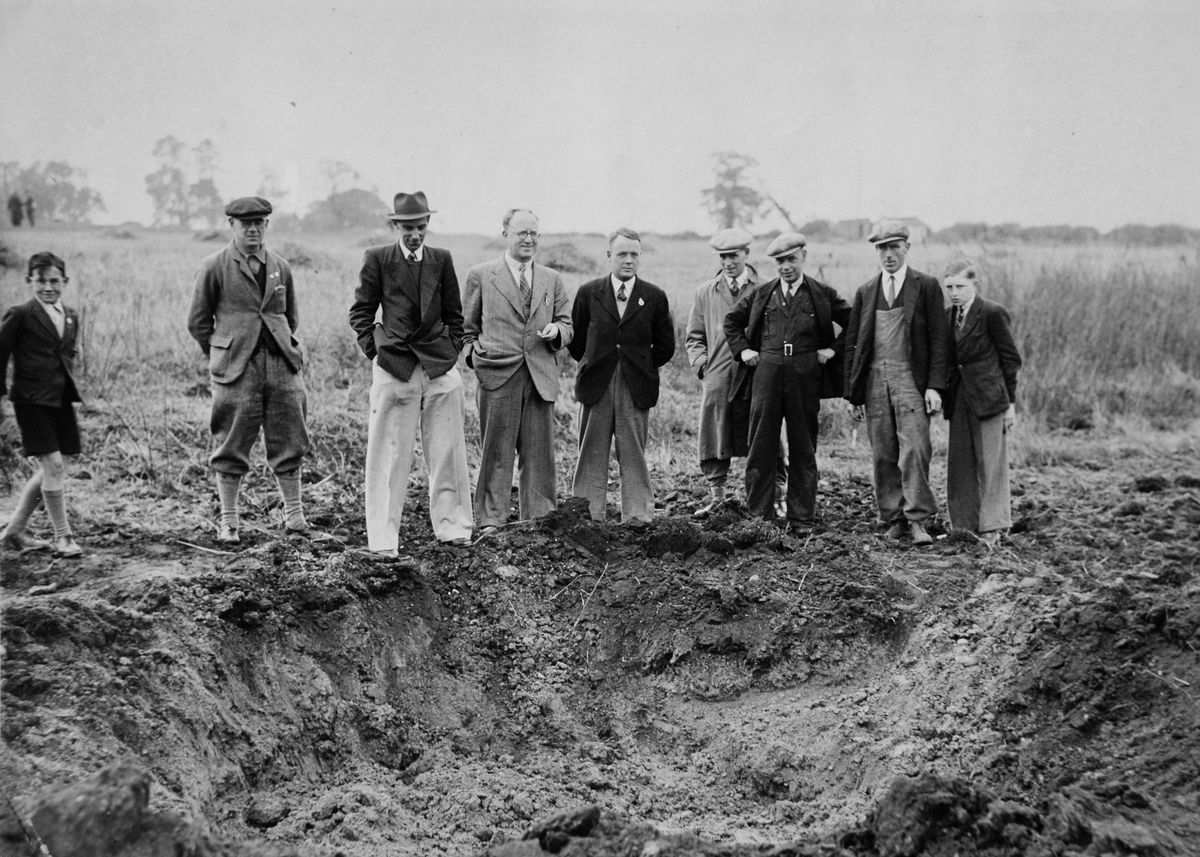 A bomb crater caused during raid on Wolverhampton on September 29 1940