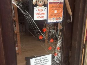 The front door was badly damaged by the act of vandalism. Photo: Ravens Rescue UK