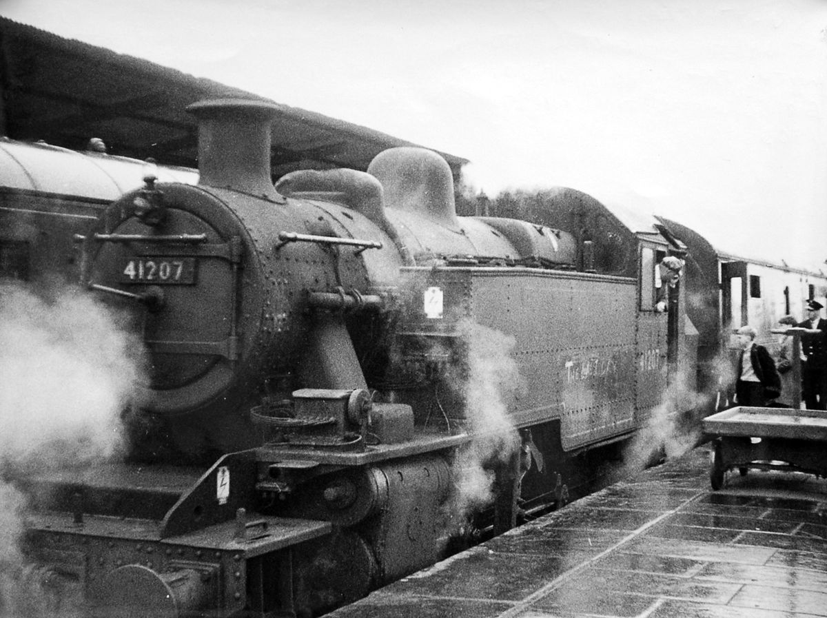 Journey's end. The last passenger train ever to run from Bridgnorth to Shrewsbury, pictured at Shrewsbury railway station on September 7, 1963. Picture: Keith Beddoes.