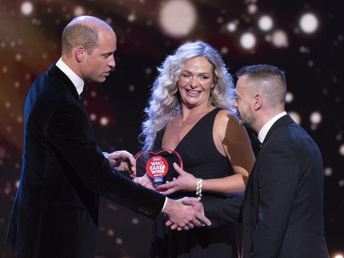 The Duke of Cambridge presents the 999 Hero Award to paramedics Deena Evans and Mick Hipgrave