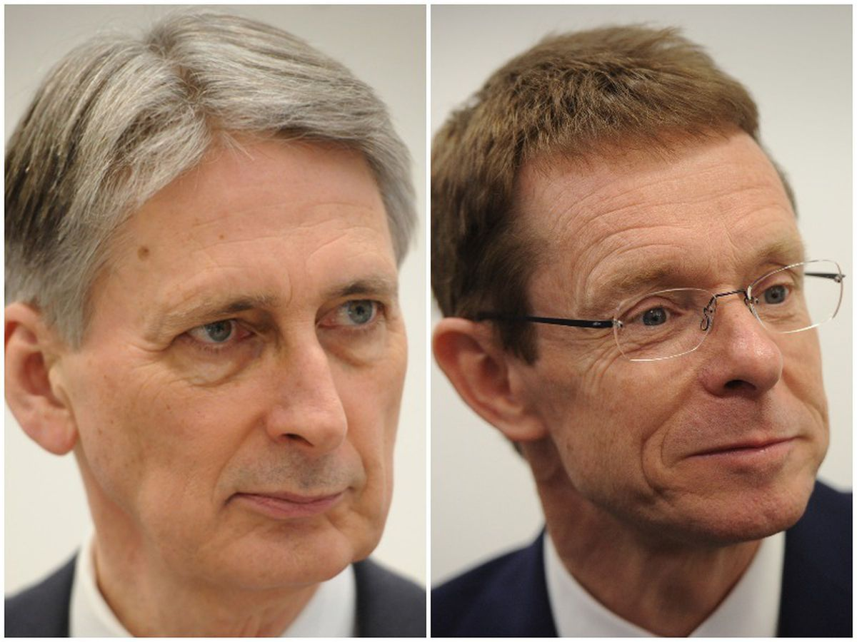 Chancellor Philip Hammond, and right, West Midlands Mayor Andy Street