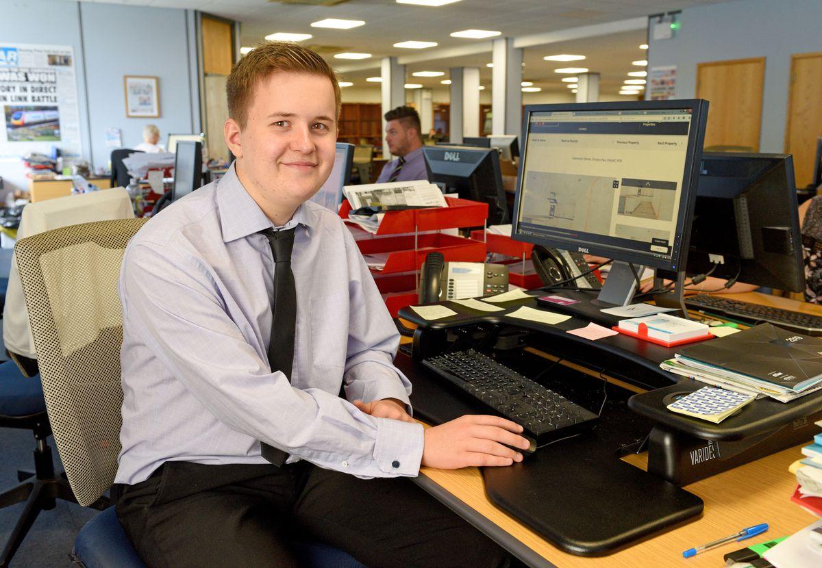 LAST COPYRIGHT EXPRESS&STAR TIM THURSFIELD 17/07/19Matthew Jones, who is on work experience at Shropshire Star, Ketley office.