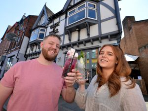 Raising a glass to a successful first week at the Cock'N'Bull pub in Stourbridge is Tom Sidaway and Aurora Pettifer