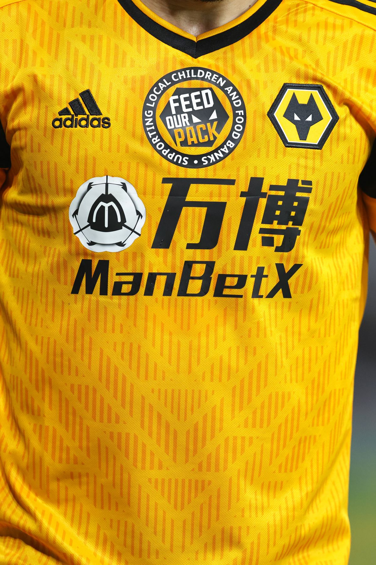 Wolves supporting local children and food banks with the team wearing a Feed Our Pack logo on the shirt.