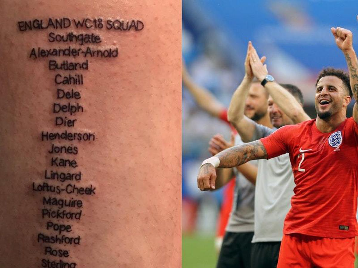 A tattoo of the England squad at the 2018 World Cup and England defender Kyle Walker