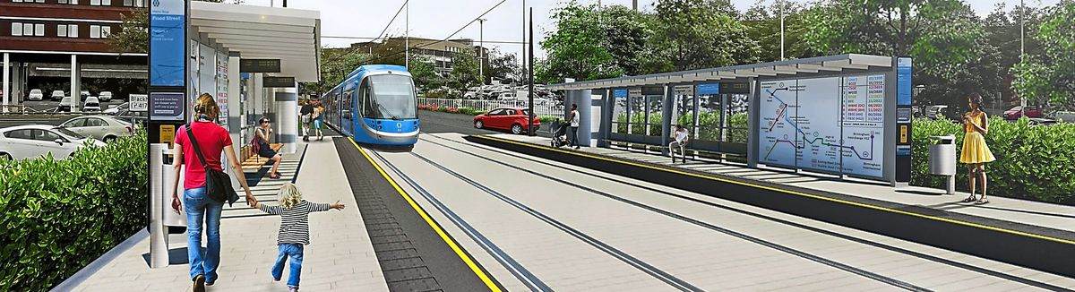 An artist's impression of the new Metro extension in Flood Street, Dudley. Picture courtesy of Transport for West Midlands
