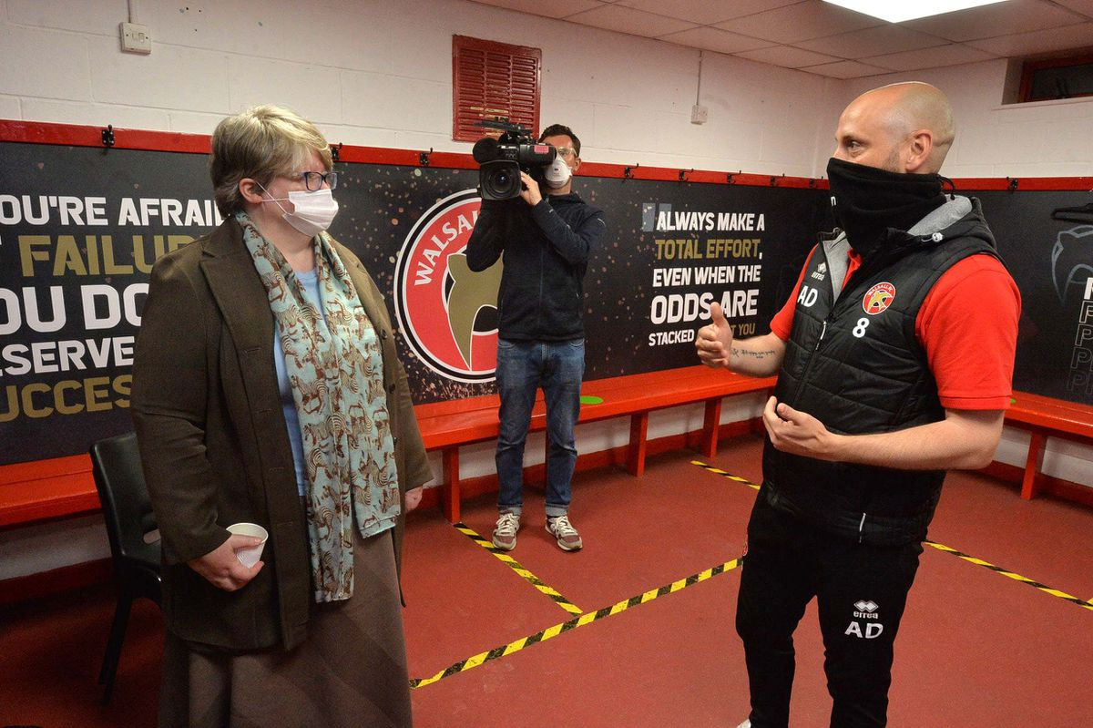 WALSALL COPYRIGHT EXPRESS AND STAR STEVE LEATH 20/05/2021..Walsall FC and MP Therese Coffey  (Secretary of State for Work and Pensions), was visiting to speak to people on the Kickstart scheme. With W FC's Adam Davey..
