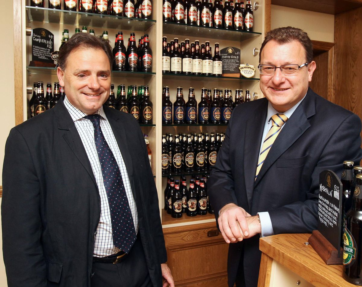 Ralph Findlay, left, outgoing chief executive at Marston's pubs arm, with his replacement, current finance director Andrew Andrea