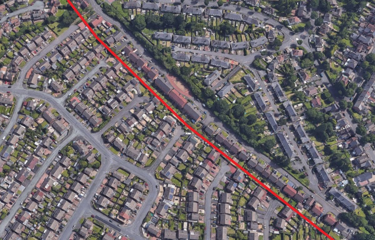 A Google Map showing Tipton. Homes on the left hand side of the red line are in Dudley and are thus 'medium risk', while their neighbours on the right in Sandwell are 'high risk'