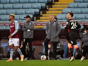 """Aston Villa manager Dean Smith during the Premier League match at Villa Park, Birmingham. PA Photo. Picture date: Sunday October 4, 2020. See PA story SOCCER Villa. Photo credit should read: Rui Vieira/NMC Pool/PA Wire. RESTRICTIONS: EDITORIAL USE ONLY No use with unauthorised audio, video, data, fixture lists, club/league logos or """"live"""" services. Online in-match use limited to 120 images, no video emulation. No use in betting, games or single club/league/player publications."""