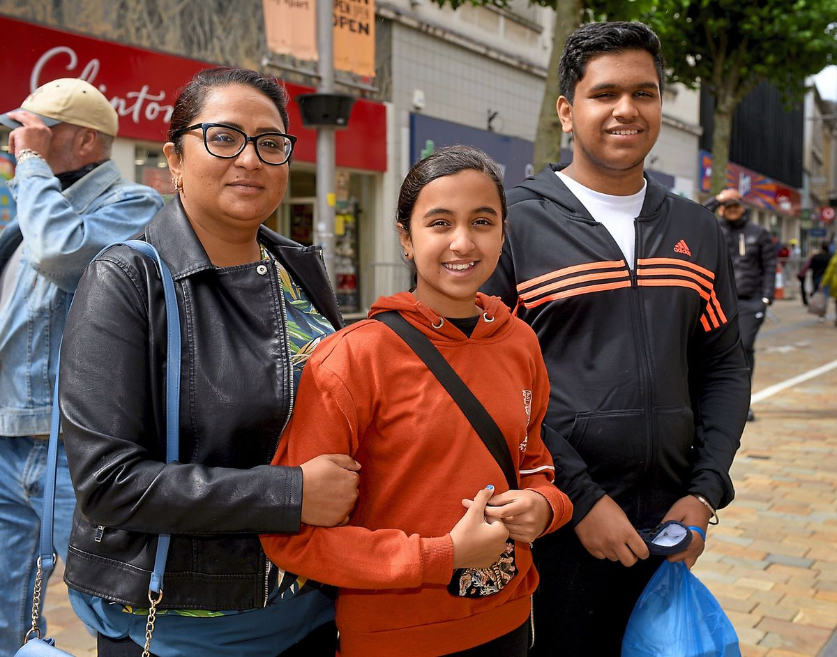 Lucky Kaur from Wednesfield with her children Imogen, aged nine and Arjan, 14