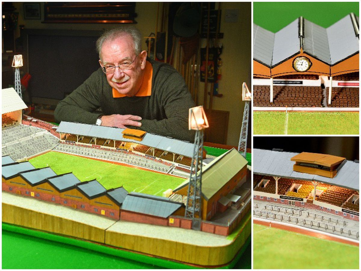 Wolves fanatic Chris Jepson, aged 71, with his marvellous mini Molineux created using matchsticks and lollipop sticks, and right top, the old clock, right bottom, and the old camera box