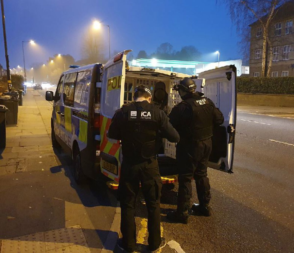 The police operation in Birmingham. Photo: NCA.