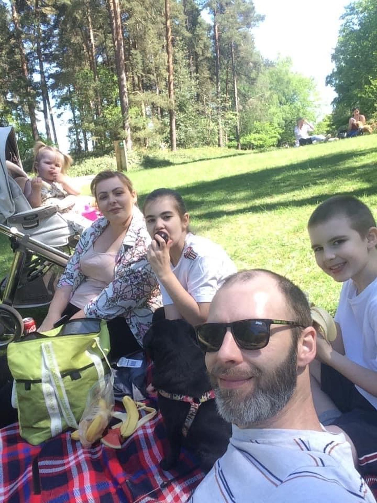 Tipton family Kirsty, David, Myiah, 10, Harrison, 9 and Sydney, 18 months, enjoying a picnic at Cannock Chase with dog Purdy