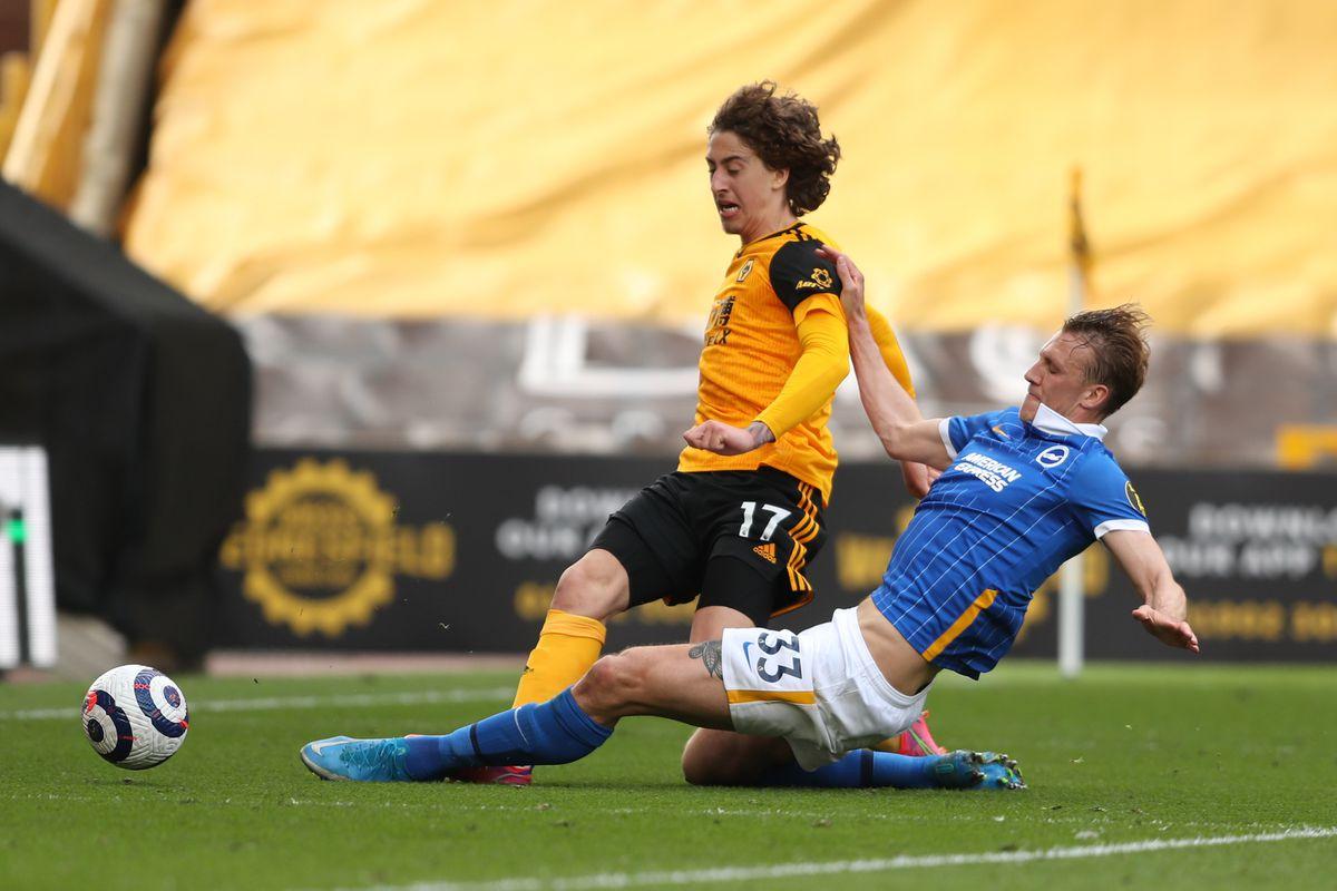 Fabio Silva of Wolverhampton Wanderers and Dan Burn of Brighton and Hove Albion (AMA)