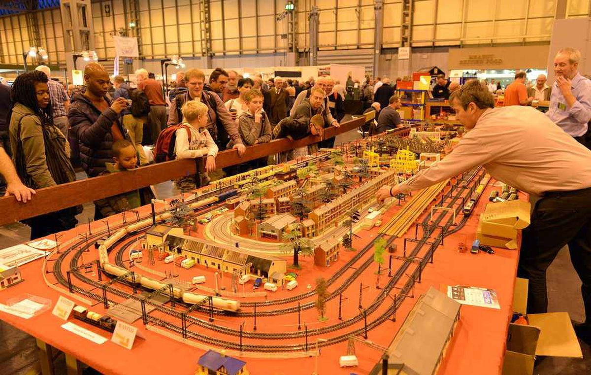 One of the model tracks on display at the Warley Model Railway Club exhibition which took place at the NEC, in Birmingham