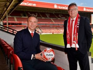 WALSALL COPYRIGHT EXPRESS AND STAR STEVE LEATH 01/06/2021..Pic at Walsall FC at New manager press conference with Leigh Pomlett (Chairman), Head Coach/ manager: Matt Taylor and Jamie Fullerton (Director of Football)..