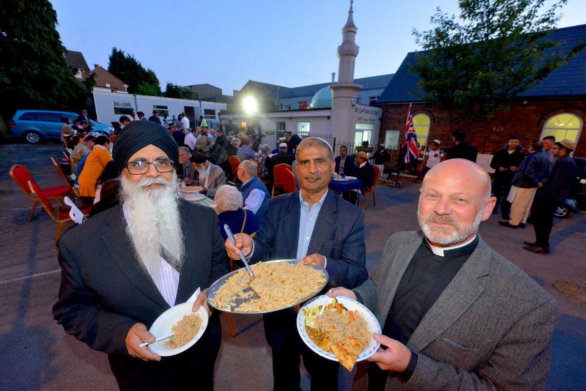 Bhajan Singh Devsi (Chair of BME United Ltd (Black Minority Ethnic),  Mosque President: Mohammed Yaseen Khan, Reverend: David Wright..