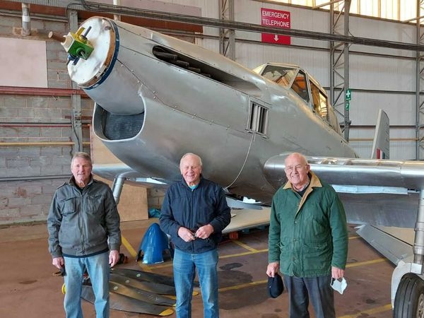Association members Bob Buck, Terry Herrington and Harold Brookes with the replica Boulton Paul Balliol