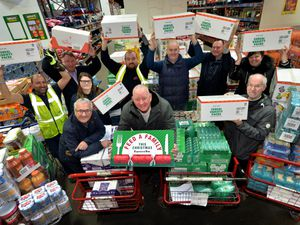 WOLVERHAMPTON COPYRIGHT TIM STURGESS Express & Star ......... 02/12/19 FOR HEATHER LARGE.  Former Goodyear workers are donating £4,000 of food to the Feed a Family appeal. Batleys Kenrick Way, Sandwell, West Bromwich. Pictured front centre is Wayne Devaney......