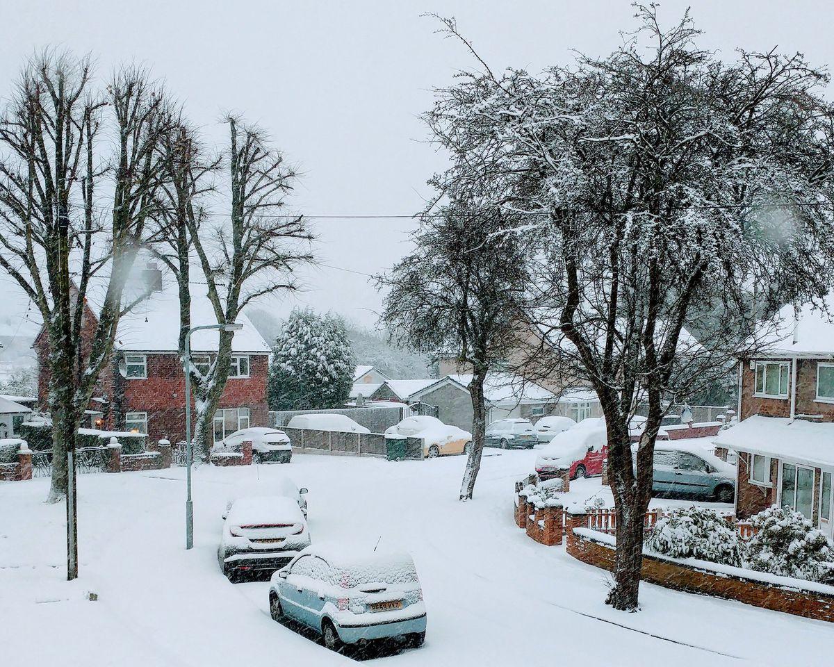 Snow in Wednesbury today. Photo: Mike Maynard.