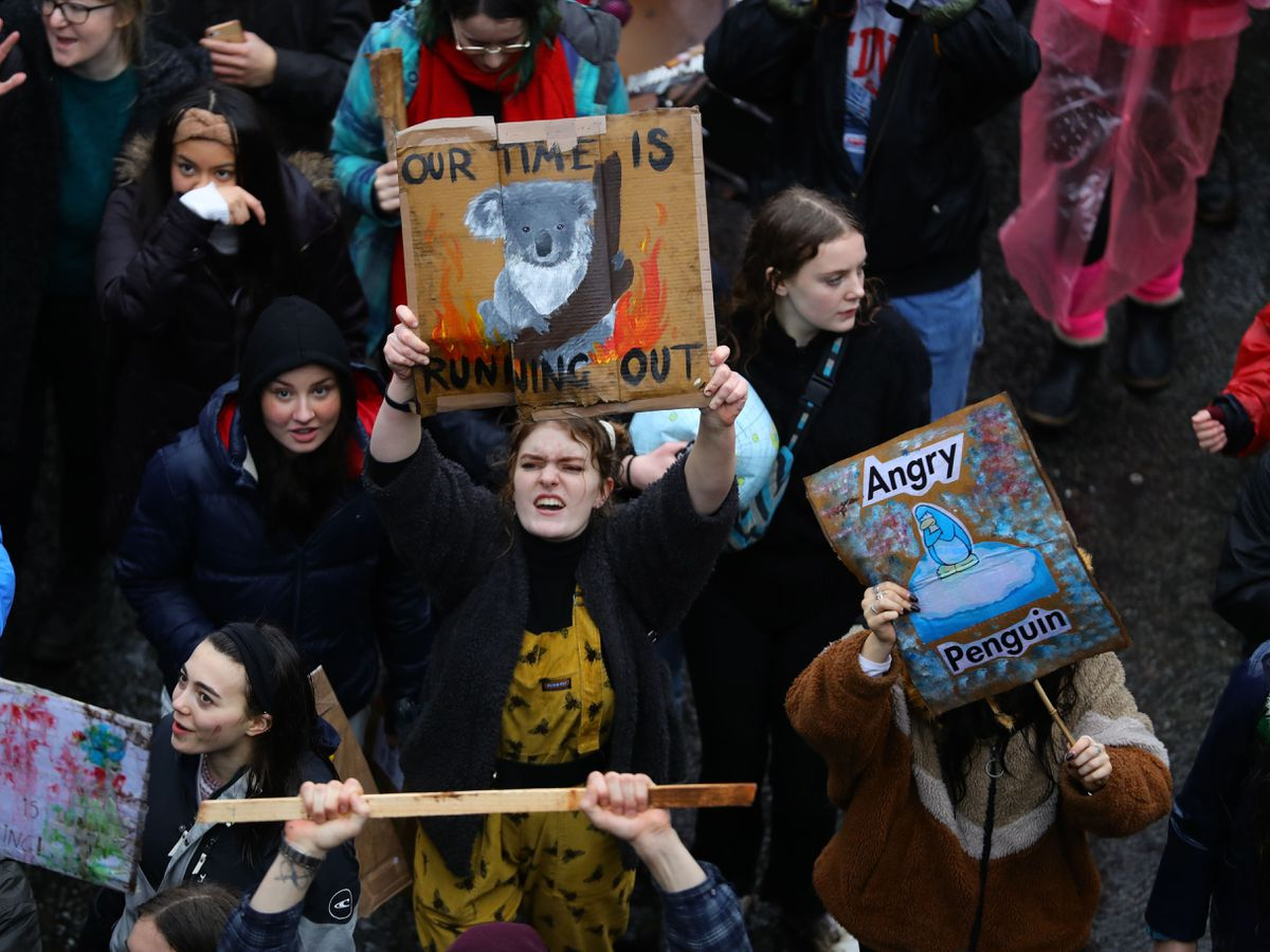 Young people take part in a youth strike for climate in Bristol