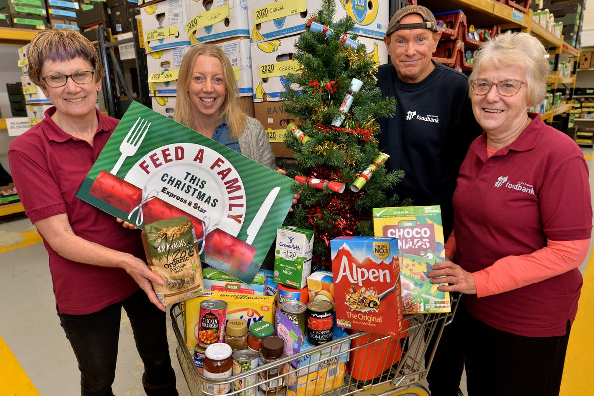 Volunteers at Black Country Food Bank in Brierley Hill, launch this year's Feed a Family campaign